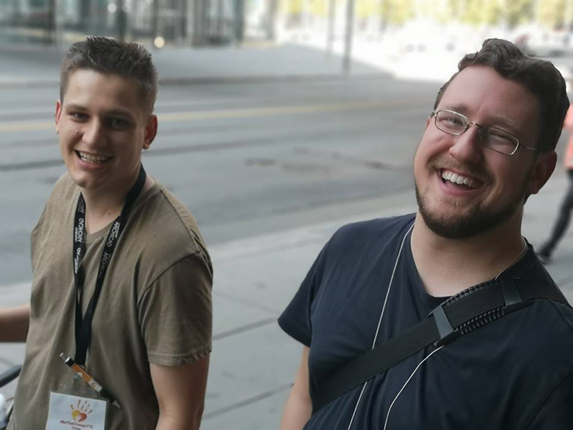 Chaz Smith, and Matt Dorie on Street Outreach in Calgary.,